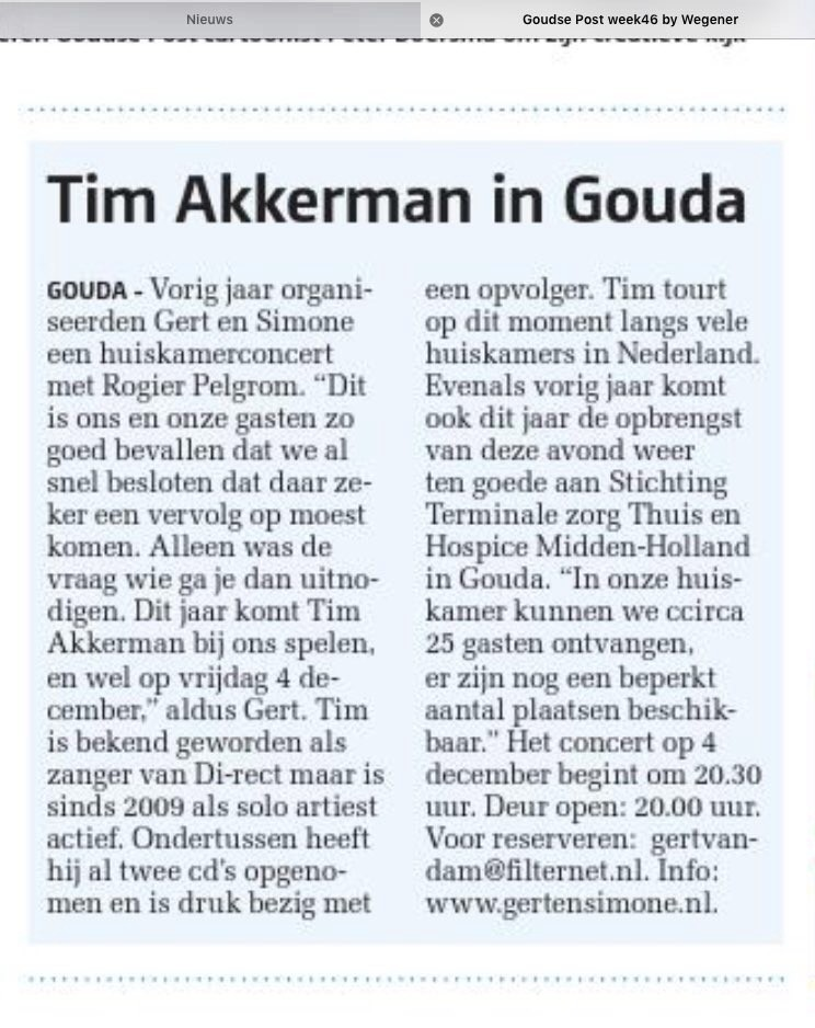 Artikel in Goudse Post
